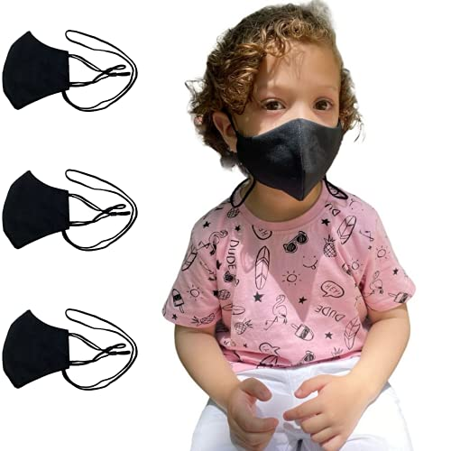 Anilev Mascarilla de tela negra reutilizable homologada lavable con colgante y reguladores 3 capas infantiles hechas en España (Pack de 3 empaquetadas individualmente)