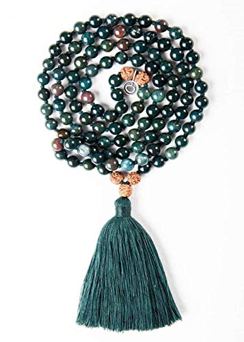 Mala Collective Mala Bead Necklace. 108 Quality Raw Gemstones with Tassel Pendant. Guided Audio Meditation Included. Multicolor healing stone for yoga, jewelry, prayer, womens, girl, birthday