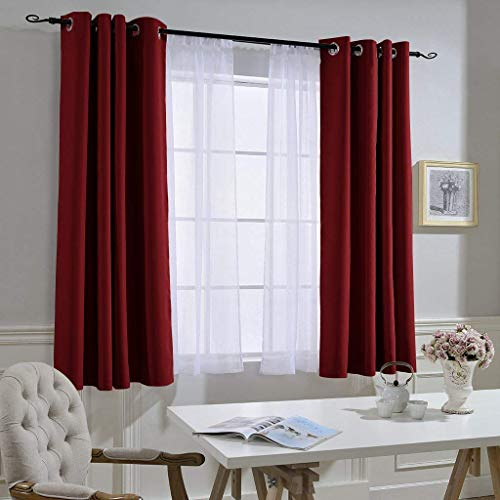 NICETOWN Burgundy Red Blackout Draperies Curtains - Thermal Insulated Solid Grommet Blackout Curtains/Panels/Drapes for Present (1 Pair, 52 by 63-Inch)