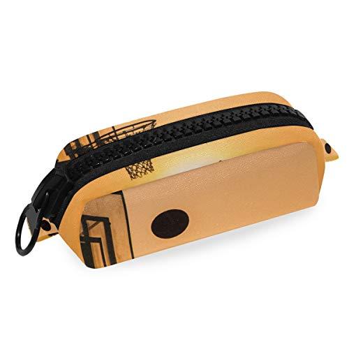 Bolsillo de alta calidad Papelería Bolsa Sunset Baloncesto Porta lápices Cremallera grande