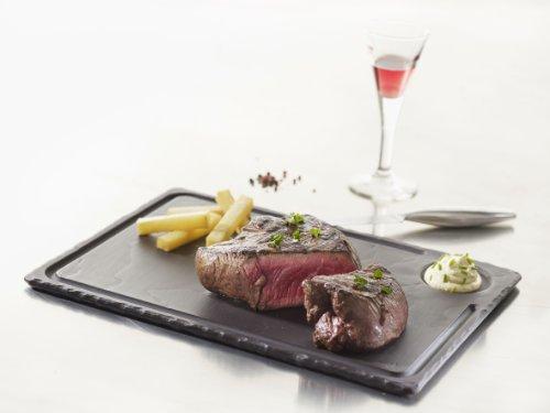 Revol 640614 Assiette à Steak Porcelaine Noir Brut 33 x 24 x 1 cm