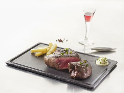 Revol 640614 Assiette à Steak Porcelaine Noir Brut 33 x 24 x 1 cm