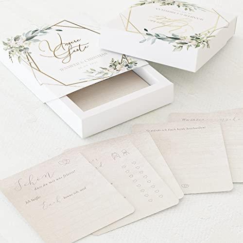 sendmoments Fragekarten zum Ausfüllen, Gästebuch Hochzeit, 60 vorgedruckte Gästebuchkarten 88 x...