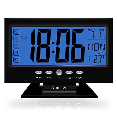 Aomago Digital Desk Clock Battery Operated with 5.7'' Large display for Bedrooms, Battery Clock Large Display with Temperature/Backlight/Snooze-Easy to Use for Kids, Teens, Seniors