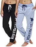 U.S. Polo Assn. Essentials Womens Sweatpants Joggers French Terry Sleep Lounge and Pajama Pants with Pockets Blue Yonder Heather Small