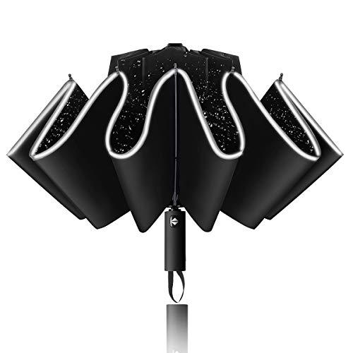 Yoophane Ombrello Inverso Automatico, Ombrello Portatile Antivento Pieghevole Grande da Pioggia Compatto Leggero con Striscia Riflettente e 10 Costole Rinforzate, Ombrello da Viaggio per Donna e Uomo