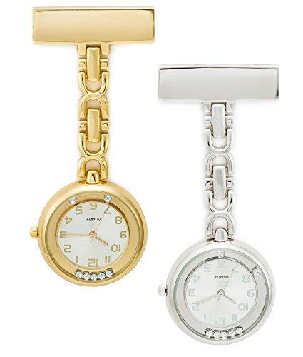 SEWOR Medical Staff Hängende Taschenuhr 2 Stück mit Lederbox Tolles Geschenk (Gold & Silber Diamant)