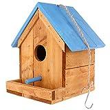 Doitool Comedero para Pájaros Fuera del Comedero Colgante de Madera Comederos para Pájaros Choza de Pájaros Colgando Colibrí Nido con Barra de Pie