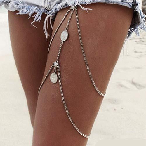 Yean Leg Chains Münzen Anhänger Crossover Harness Taille Gürtel Kette Vintage Bikini Oberschenkel Bein Ketten Körperschmuck