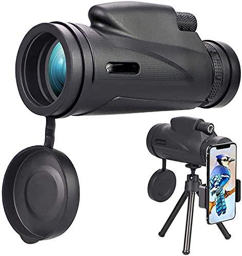 FHISD Telescopio monocular, 12 x 50 Resistente al Agua BAK4 Shimmer HD Telescope, con trípode Adaptador para teléfono Inteligente, para observación de Aves, Senderismo, Turismo
