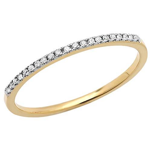 Dazzlingrock Collection 0.10 Carat (ctw) 10K Round Diamond Ladies Wedding Stackable Band 1/10 CT, Yellow Gold, Size 7