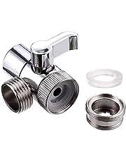 Gobesty Douche omleidingsventiel, massief messing T-adapter 3-manieren douchekop afsluitklep voor doucheventiel, keukenkraan en bidet bevestiging, zilver