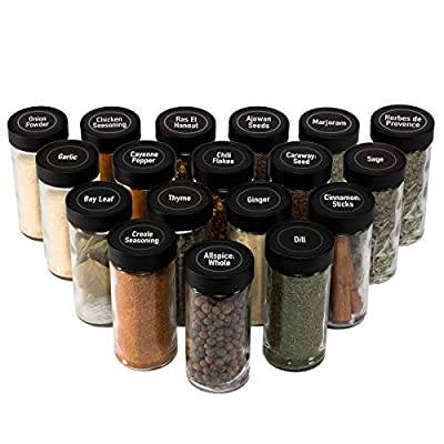 AllSpice 4 Ounce Glass Spice Jars (Same Size as Penzeys and Spice House) with Black Plastic Lids and 3 Styles of Shaker Tops- 18 Pack