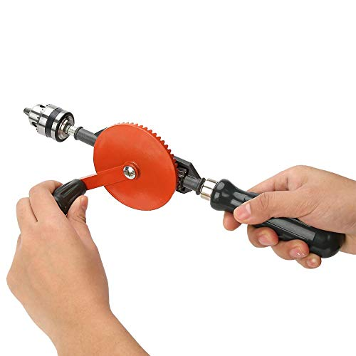 Hand Drill 45# Steel Hand Crank Drill Double Pinions Adjustable Woodworking Mini with Chuck for Metal Wood(1/4 inch)