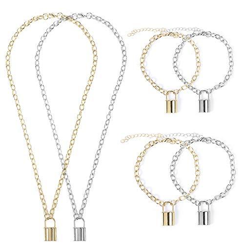 Xinzistar 6 PCS Lock Pendant Chain Necklace Bracelet Anklet Set Padlock Chain Choker Vintage Punk Unisex for Women Men Couples (Silver & Gold)