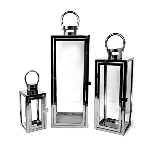 allgala 3-PC Set Jumbo Luxury Modern Indoor/Outdoor Hurricane Candle Lantern Set with Chrome Plated Structure and Tempered Glass-Cuboid Black-HD88013