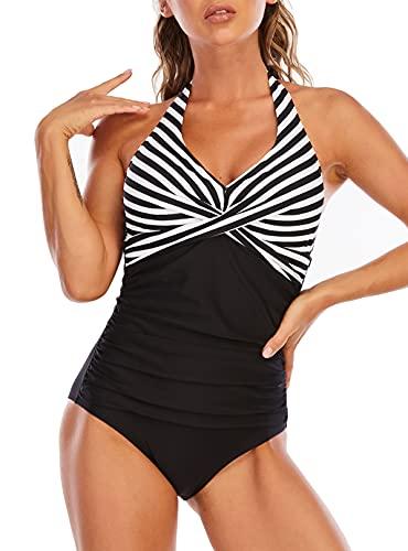 LA ORCHID Laorchid Damen Badeanzug Einteiler Push up große größen Schwimmanzug v Ausschnitt Sexy Neckholder Monokini bademode bauchweg Schlankheits bügellos Schwarz Streifen XL