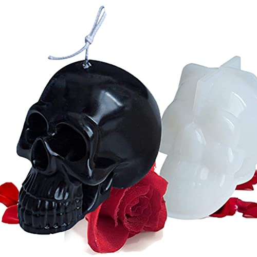 Liscra Skull Candle Molds, 3D Skull Shape Big Size Silicone Mold for Candle Making, Halloween Party Making Aromatherapy Candles Mold for Resin Soap Lotion Bar Crayon Wax Melt Clay Decorating Tool