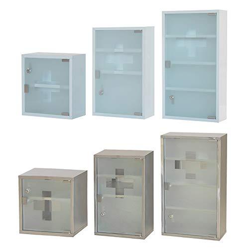 Style home Medizinschrank Edelstahl Arzneischrank Erste Hilfe Schrank Glastür mit Schloss Hausapotheke Medikamentenschrank 2 Fächer (Silber, 30x30cm)