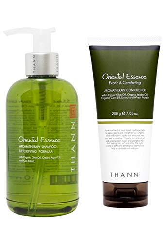 THANN Oriental Essence Aromatherapy Shampoo and Conditioner Set with Organic Olive Oil, Organic Argan Oil and Coix Extract, Organic Jojoba Oil, Organic Corn Silk Extract and Wheat Protein.