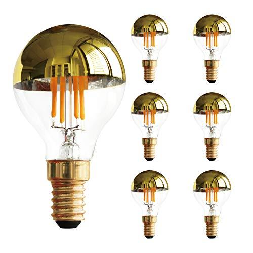 Bombilla de filamento LED vintage G45 de 4 W, bombilla de luz superior con espejo de medio oro, blanco cálido 2700 K, base E14, equivalente a 40 vatios, regulable, paquete de 6