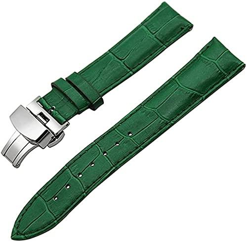 JZDH Banda de Reloj de Cuero Cuchillo de Acero Correa de muñeca 18 mm 19 mm 20 mm 21 mm 22 mm 23mm 24mm Reloj Bandas (Color: Verde Mariposa, Tamaño: 20mm)