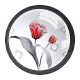 Tirador para cajón de 35 mm, diseño de rosas artísticas de cristal, con forma de círculo, para oficina, baño, cocina, armario, cajones, 4 unidades con tornillos