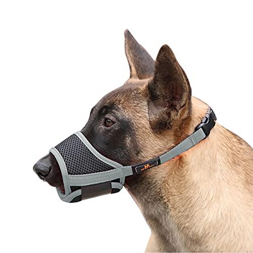 Dociote Maulkorb für Hunde Verstellbarer atmungsaktiver Fressschutz Schlaufe aus Nylon gegen Beißen, Kauen und Bellen für kleine mittlere Hunde Grau M