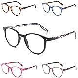 Yuluki 5 Pack Reading Glasses Blue Light Filter Stylish Computer Readers for Men Women Spring Hinge Eyeglasses Anti Glare UV Eyestrain 2.25