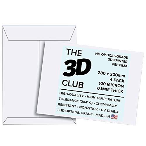 FEP-Folie für UV-3D-Drucker | 0,1 mm dick | 4 Blatt | 280 mm x 200 mm pro Blatt | HD Optical Grade | erhältlich in 3 Stärken