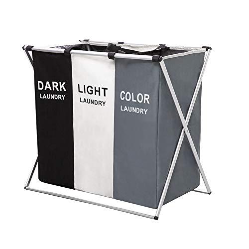 黒・白・グレーのカラーリングがスマートな印象の洗濯カゴ。折りたたむことができるため、使わない時は隙間にしまっておくことができます。