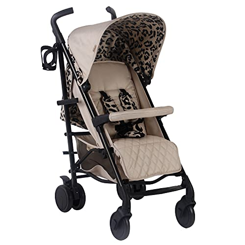 My Babiie MB51 Dani Dyer Leopard Lightweight Stroller, Sturdy & Protective, Lightweight Frame, Comfort, Manoeuvrability, Suitable from Birth to Maximum 22kg, with Cup Holder, Rain Cover and Footmuff