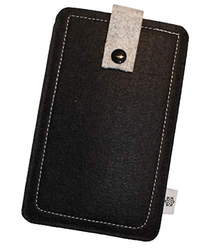 Dealbude24 Filz-Tasche passend für Motorola Moto X Force mit Hülle, Hochwertige Handy-hülle, Schutz-Tasche mit Herausziehband & Drucknopf, Etui stoßfest, weich & reißfest in Schwarz - XL