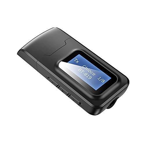 Fesjoy Adaptador inalámbrico BT 5.0 Audio emisor receptor 3,5 mm Aux hembra 2 en 1 USB BT Dongle con pantalla LCD compatible con TV PC