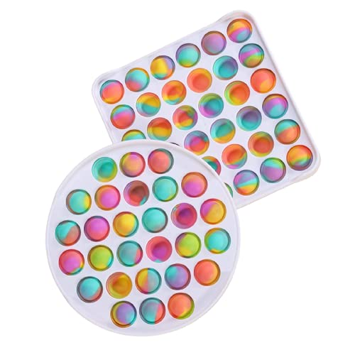 Fidget Sensory Toy, Hard Shell Pop Big Push Bubble Sensory Toy, 2 Packs Round and Square Silicone Puzzle Toy, Stress Pressure Relieving for Kids, Adults for Relaxing(Ombre)