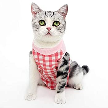 LIANZIMAU Cat Professional Recovery Suit Vêtements chirurgicaux pour Les plaies Abdominales Conception de la Grille pour Les Chats Substitut du cône de Collier E après la Chirurgie