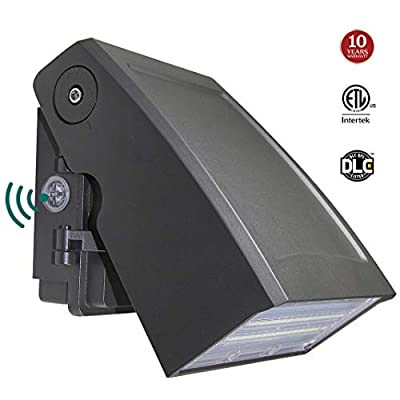 LED Wall Pack light with 0-90° Adjustable Head Dusk-to-Dawn Photocell, Waterproof Security Lighting Fixture for Outdoor 5000K