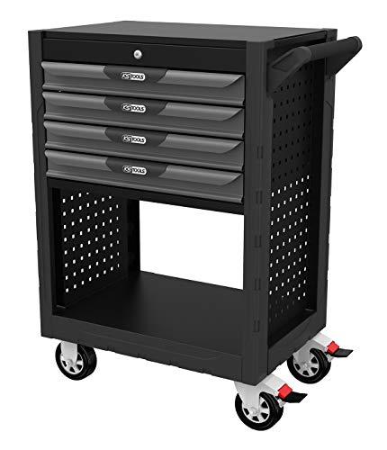 KS Tools 818.0004 - Servante d'atelier 4 tiroirs avec 1 soute - Ouverture individuelle et totale des tiroirs - 4 roues robustes Ø 125 mm - Perforations normalisées pour fixation d'accessoires