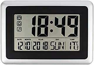 Forestime Full Digital Wall Clock with Calendar & Temperature, Large LCD Screen Alarm Clock with Extra Large Digits, Batte...
