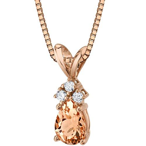 14 Karat Rose Gold Pear Shape 0.75 Carats Morganite Diamond Pendant