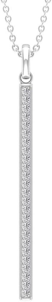 Vertical Bar Drop Pendant, SGL Certified 0.2 Ct Diamond Charm Necklace, Stackable Promise Necklace, Minimalist Bridesmaid Pendant, Everyday Pendant
