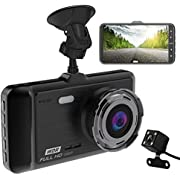"Dash Cam, BEITESI Full HD Front and Rear Dual Dash Camera with 4"" IPS LCD Screen, 170° Wide Angle Lens Dashboard Camera with G-Sensor, Loop Recording, Rear View and Motion Detection"