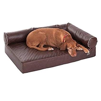 Dog Sofa Brown Faux Leather comfortable Memory foam for a Pain free Rest ( 85 x 65 x 30 cm (L x W x H))