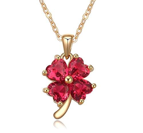 Collier trèfle à quatre feuilles 18 carats plaqué or jaune avec cristaux couleur rubis en zircone