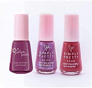 Avon Color Me Pretty Nail Enamel - (wine plum-pretty plum-passionate purple) - 5 ml each