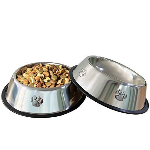 VIBOOS Hundenapf, 2 Stück Edelstahl Hundenapf, rutschfeste Hundenäpfe für Futter oder Wasser, Perfekte Haustier Futternapf für Mittelgroße und Große Hunde (Silber)