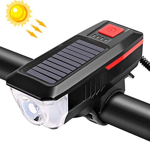 Xapahy Luz para bicicleta recargable con USB solar frontal bicicleta multifunción luz solar con cuerno impermeable