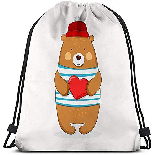 BOUIA Trekkoord Bag vriendelijke beer jongen ballon cartoon hand getekende baby print mode kinderen dragen kleding