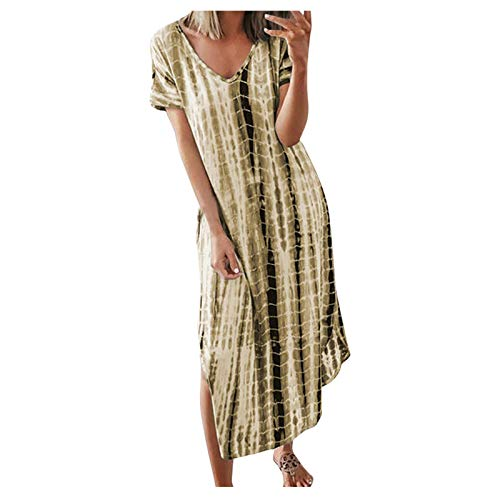 AMhomely Women Dresses Promotion Sale Clearance Fashion Casual Ladies Tie-Dye Print V-Neck Short Sleeve Split Summer Long Dress Party Eleagant Dress UK Size S-3XL Yellow