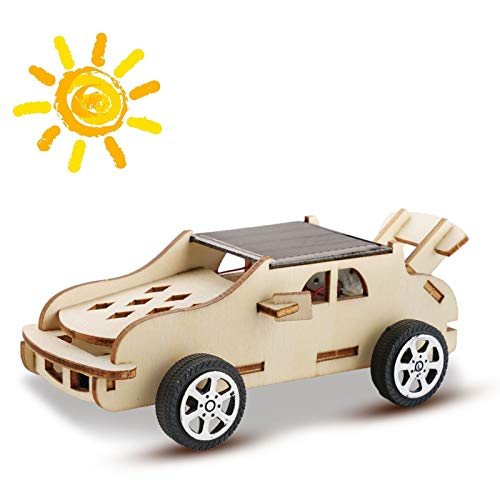 CYZAM DIY Wooden Solar Car, 3D Puzzle STEM Learning Science Kit Engineering Experiments Projects for Boys & Girls, Build Your Own Car for Kids Age 8+